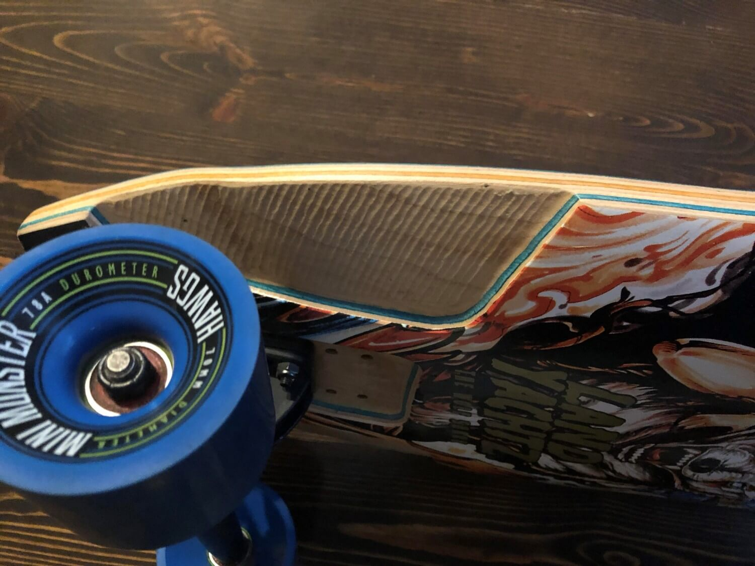 Longboard with wheel flares to prevent wheel bite
